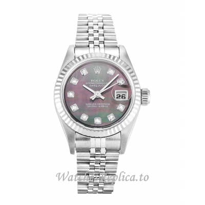 Rolex Datejust Lady Mother of Pearl Black   Diamond Dial 79174 26MM