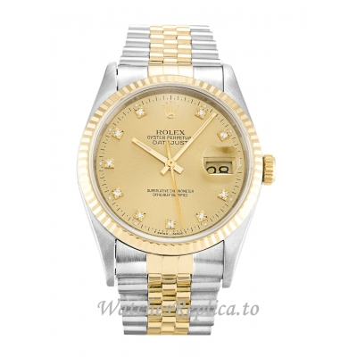 Rolex Datejust Champagne Diamond Dial 16233-36 MM