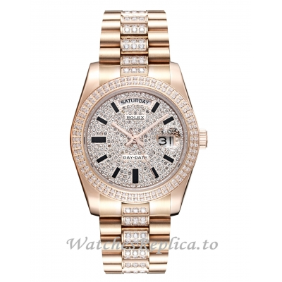Rolex Day Date 228345RBR Rose Gold Strap Replica Watch 41MM