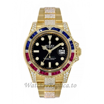Rolex Replica GMT-Master IIPepsi Yellow Gold Diamond Bracelet 40MM Watch 116758SARU
